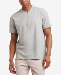Kenneth Cole Reaction New York Men's Quarter Zip T Shirt Heather Grey