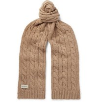 Oliver Spencer Arbury Cable Knit Wool Blend Scarf Beige