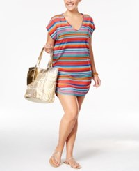 Anne Cole Plus Size Striped Mesh Cover Up Tunic Women's Swimsuit Multi