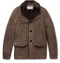 Saint Laurent Shearling Coat Brown