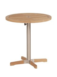 Barlow Tyrie Equinox Circular Pedestal Table Small Light Brown