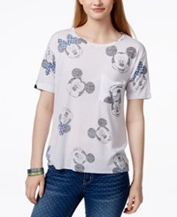 Hybrid Juniors' Disney Mickey And Minnie Mouse Graphic Pocket T Shirt White