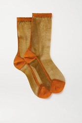 Maria La Rosa Golf Two Tone Tulle Socks Gold