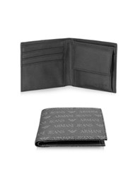 Armani Jeans Black Logo Pattern Eco Leather Men's Wallet
