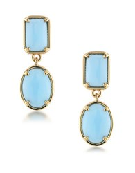 1St And Gorgeous Double Drop Cabochon Stone Earrings Light Blue