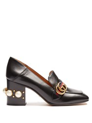 Gucci Peyton Faux Pearl Heel Leather Shoes Black