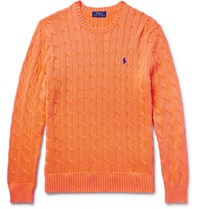 Polo Ralph Lauren Cable Knit Cotton Sweater Bright Orange