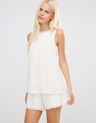 B.Young Lona Sheer Lace Top With Embellished Neck Whisper Pink
