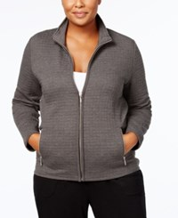 Karen Scott Plus Size Quilted Jacket Created For Macy's Charcoal Heather