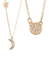 Melinda Maria Shiny Moon And Star Cz Necklace Set White