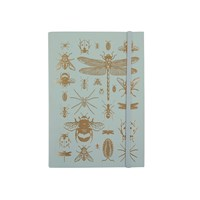 Undercover Recycled Leather A5 Notebook Bugs Sea Foam And Gold