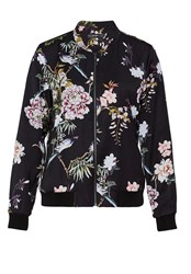 Hallhuber Satin Bomber Jacket With Asia Print Multi Coloured Multi Coloured