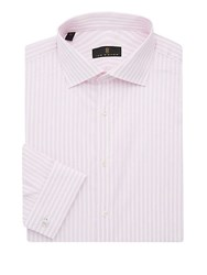 Ike By Ike Behar Regular Fit Striped Dress Shirt Pink