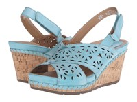 Earth Aries Turquoise Leather Women's Wedge Shoes Blue