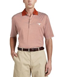 Peter Millar University Of Texas Longhorn Gameday Polo College Shirt Striped Orange White