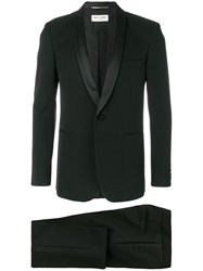 Saint Laurent Formal Fitted Two Piece Suit Virgin Wool Polyester Cotton Silk Black