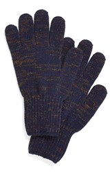 Men's Upstate Stock Wool And Acrylic Knit Gloves Blue Navy Multi Spec