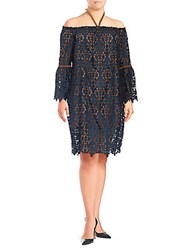 Alexia Admor Off The Shoulder Shift Dress Navy Nude