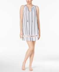 Lucky Brand Crochet Trimmed Printed Cotton Nightgown Blue And White Stripe