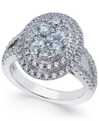 Arabella Swarovski Zirconia Oval Cluster Ring In Sterling Silver Only At Macy's
