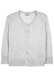 Alpha Light Grey Silk And Cashmere Blend Cardigan Silver