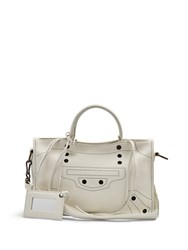Balenciaga Blackout City Small Leather Cross Body Bag White Black