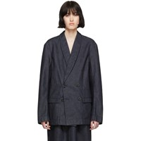 Christophe Lemaire Ssense Exclusive Navy Denim Double Breasted Jacket