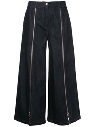 Osman Zipped Cropped Jeans Blue