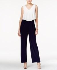 Jessica Simpson Colorblocked Popover Jumpsuit Navy White