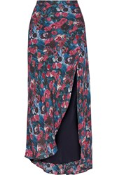 Haute Hippie Floral Print Silk Maxi Skirt Purple