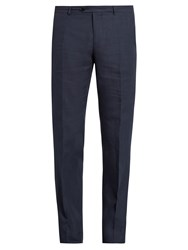 Etro Straight Leg Linen Trousers Navy