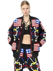 Ktz Flag Patched Nylon Bomber Jacket