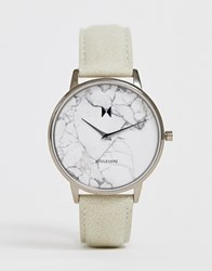 Mvmt Boulevard Leather Watch With Marble Dial Beige