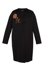 Paule Ka Duchess Satin Embroidered Coat Black