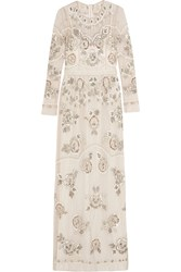 Needle And Thread Garden Scatter Embellished Tulle Maxi Dress White
