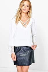 Boohoo Cross Front Lace Trim Sleeve Blouse Ivory