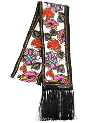 Dsquared Fringed Printed Silk Scarf