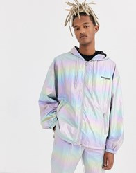 Sixth June Holographic Reflective Track Jacket Silver