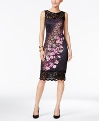 Thalia Sodi Mixed Print Sheath Dress Only At Macy's Deep Black