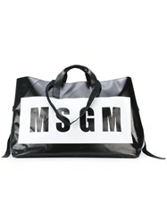 Msgm Oversized Logo Print Tote Women Calf Leather Pvc One Size Black
