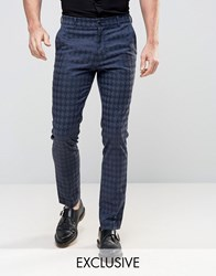 Reclaimed Vintage Skinny Houndstooth Trousers Black