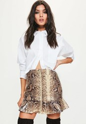 Missguided Petite Exclusive Brown Snake Print Faux Leather Frill Skirt