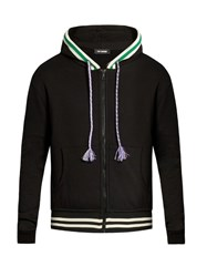 Raf Simons Contrast Trim Zip Up Sweatshirt Black Multi