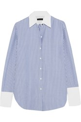 Rag And Bone Essex Oversized Pinstriped Cotton Silk Blend Shirt Blue