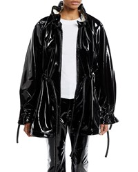 Rosetta Getty Zip Front Corded Drawstring Lacquered Terry Short Anorak Jacket Black White