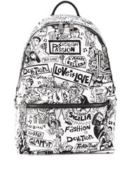 Dolce And Gabbana Illustrated Print Backpack White
