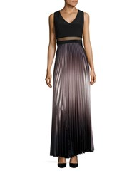 Betsy And Adam Pleated Ombre Gown Black