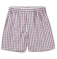 Sleepy Jones Victor Checked Cotton Boxer Shorts Red
