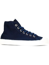Ymc Painted Effect Hi Tops Blue