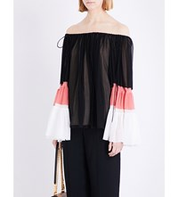 Chloe Off The Shoulder Silk Chiffon Blouse Blk Coral Cream